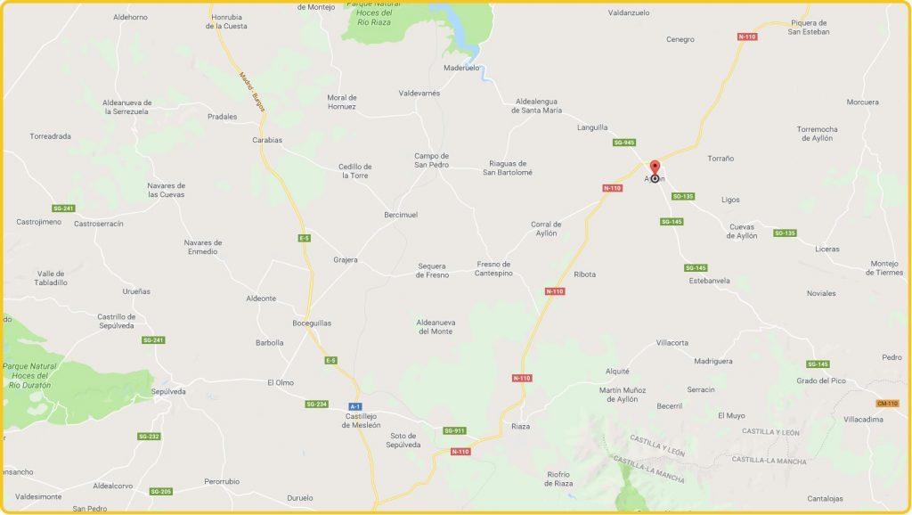Mapa de localización de Ayllón
