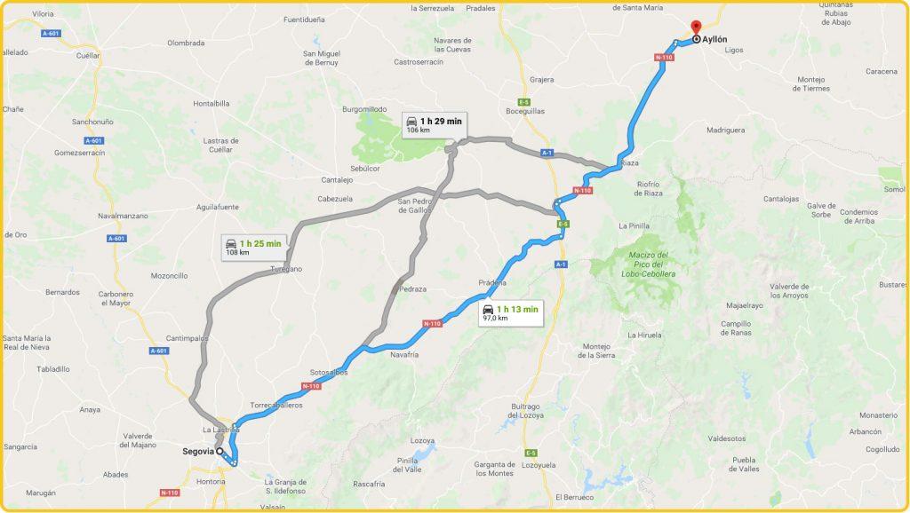 Mapa de cómo llegar desde Segovia