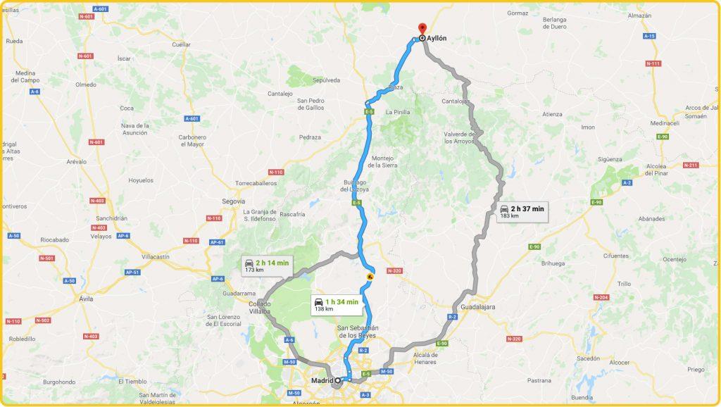 Mapa de cómo llegar desde Madrid