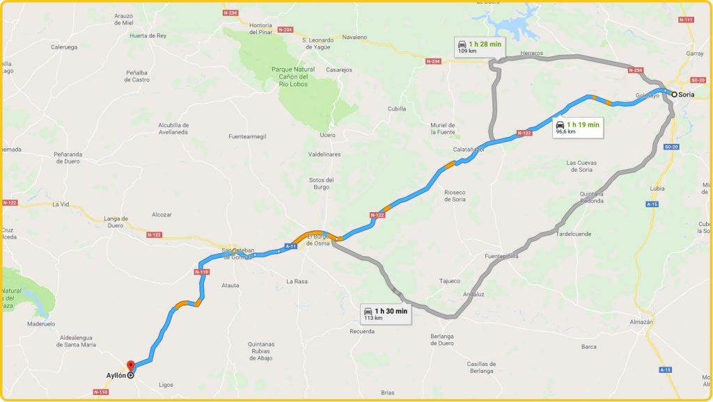 Mapa de cómo llegar desde Soria