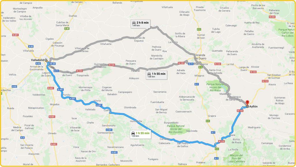 Mapa de cómo llegar desde Valladolid