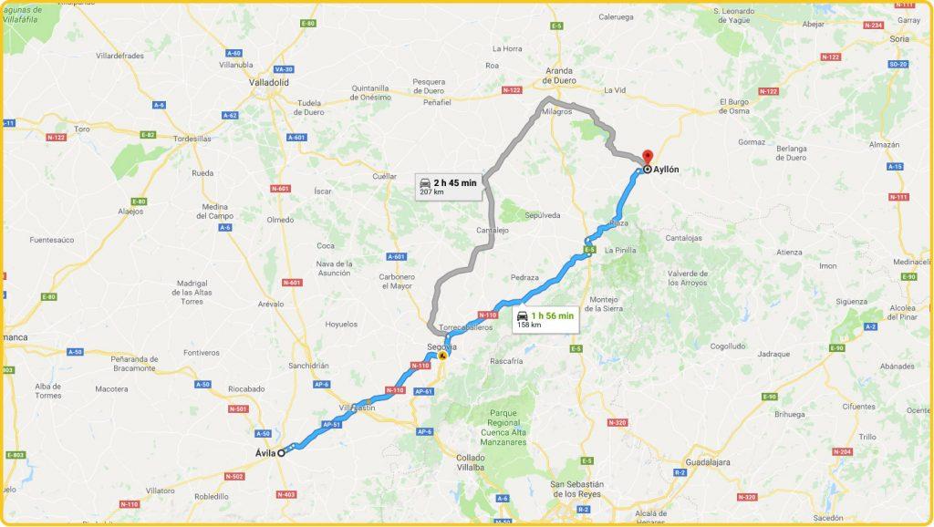 Mapa de cómo llegar desde Ávila