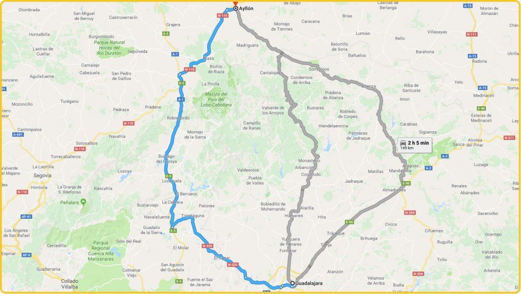 Mapa de cómo llegar desde Guadalajara