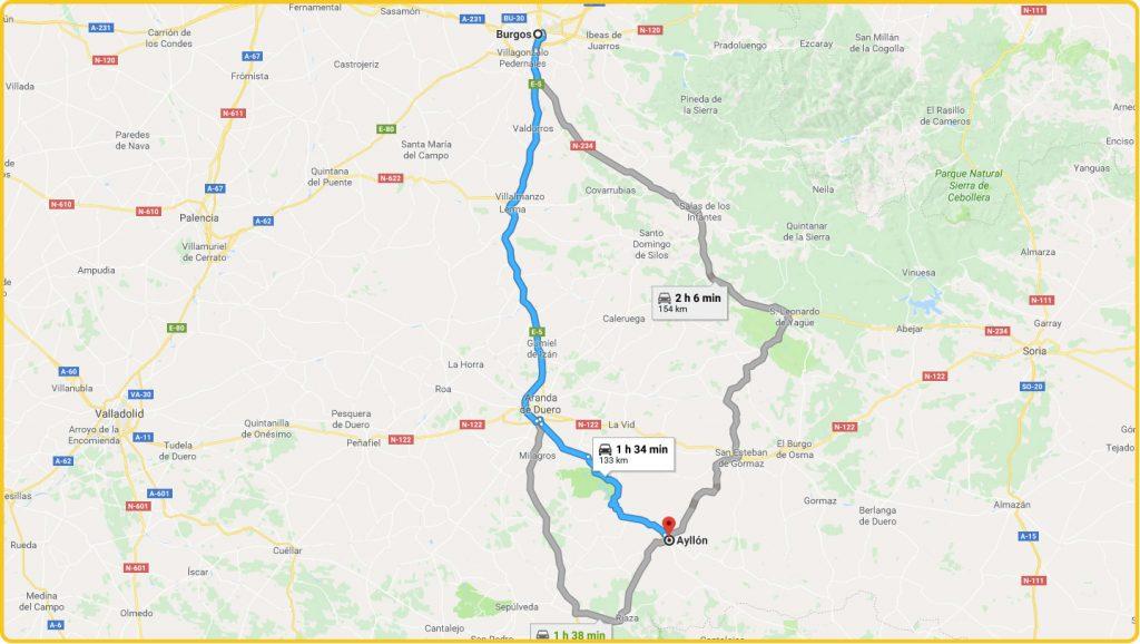 Mapa de cómo llegar desde Burgos